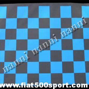 Art. 0001blu - Capote Fiat 500 F / L / R  a scacchi blu in tela gommata originale - Capote FIAT 500 F/L/R a scacchi blu in tela gommata originale. Sostituisce senza modifiche la capote originale.