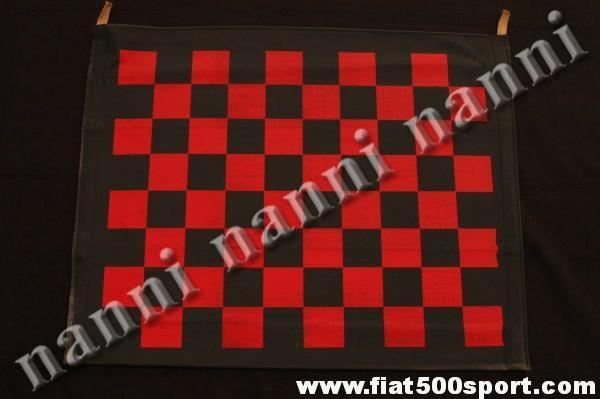 Art. 0001S - Fiat 500 F L R red chess pattern capote. (Chess not perfect). - Fiat 500 F L R red chess pattern capote . (chess not perfect).