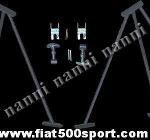 Art. 0006 - Alzacofano  Fiat 500 da competizione con ganci fermacofano. - Alzacofano Fiat 500 da competizione con ganci fermacofano. Alzano il cofano motore a 90 gradi.