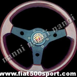 Art. 0016 - Abarth 595/695 mahogany wood steering wheel with hub (black spokes). - Abarth 595/695 mahogany wood steering wheel with hub (black spokes). Outer diameter 310 mm. (SPECIAL OFFER).