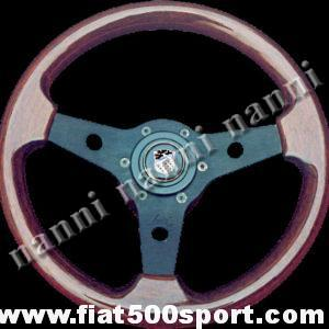 Art. 0017 - Giannini 500/590/650 mahogany wood steering wheel with hub (black spokes). - Giannini 500/590/650 mahogany wood steering wheel with hub (black spokes). Outer diameter 310 mm. (SPECIAL OFFER)