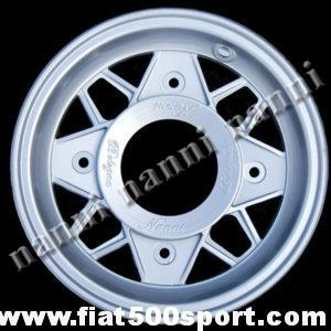 "Art. 0074 - NANNI light alloy wheel 4,5"" x 12"" with bolts for Fiat 500 and Fiat 126 first series. - NANNI light alloy wheel 4,5"" x 12"" with bolts for Fiat 500 and Fiat 126 first series.   ET 45."