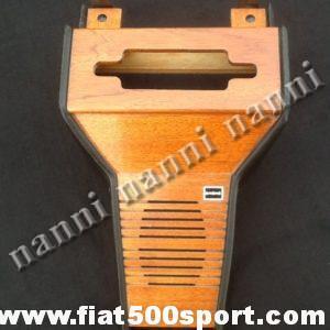 Art. 0093A - Portaradio  Fiat 500 nuovo in legno di mogano con altoparlante. - Portaradio Fiat 500 d'epoca nuovo in legno di mogano con altoparlante marca Autosonik.