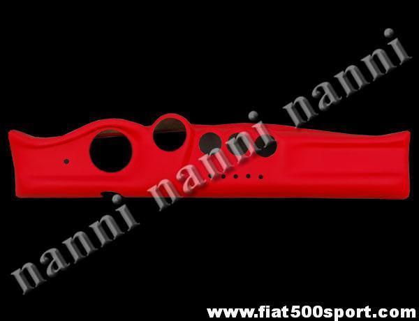 Art. 0717 - Cruscotto Fiat 500  in vera  pelle rossa - Cruscotto Fiat 500 in vera  pelle rossa. Per strumenti diam. 80 mm. e manometri diam.52 mm.