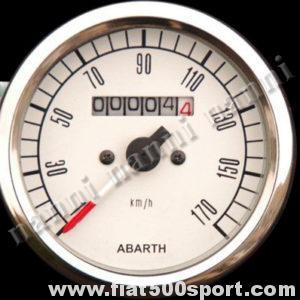 Art. 0740 - Tachimetro Abarth bianco Ø 80 mm. Nuovo. - Tachimetro Abarth bianco Ø 80 mm. nuovo, senza contakilometri parziale.
