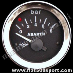 Art. 0771 - Manometro Abarth  pressione olio nero, nuovo. - Manometro Abarth pressione olio nero diametro 52 mm. nuovo.