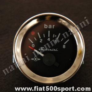 Art. 0771G - Manometro Giannini pressione olio nero,nuovo, diametro 52 mm. - Manometro Giannini pressione olio con quadrante nero, nuovo, diametro 52 mm.