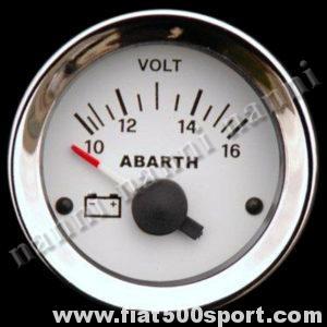 Art. 0780 - Voltmetro Abarth bianco, nuovo. - Voltmetro Abarth bianco, nuovo, diametro 52 mm.