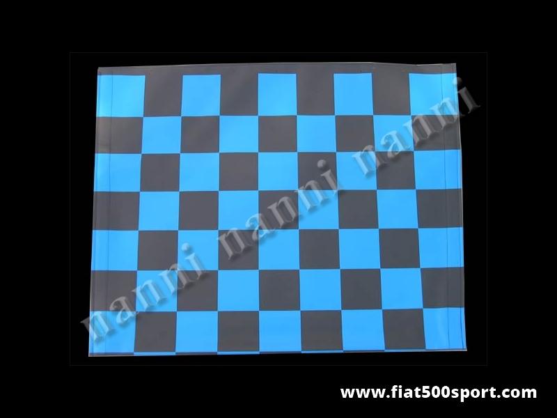Art. 0001blu - Fiat 500 F L R blue chess pattern capote. - Fiat 500 F L R blue chess pattern capote.