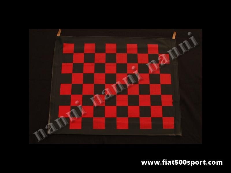 Art. 0001S - Capote a scacchi rossi (originale Abarth) con lievi imperfezioni d'aspetto nella serigrafia. - Capote a scacchi rossi per Fiat 500 F/L/R con lievi difetti nella serigrafia. Prezzo molto sotto costo.