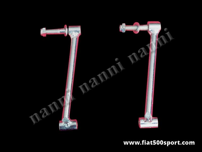 Art. 0002 - Alzacofano Fiat 500 Fiat 126 Giannini  in acciaio altezza 10 cm. - Coppia di alzacofano Fiat 500 Fiat 126 Giannini in acciaio altezza 10 cm. Permette la chiusura del cofano con la serratura originale.