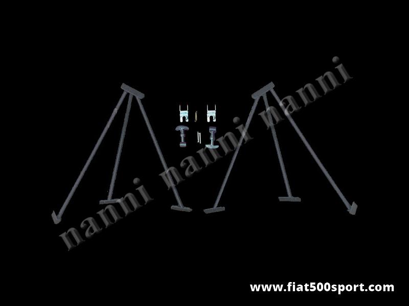 Art. 0006 - Alzacofano  Fiat 500 da competizione con ganci fermacofano. - Alzacofano Fiat 500 da competizione con ganci fermacofano. Alzano il cofano motore a 90 gradi. Kit completo.