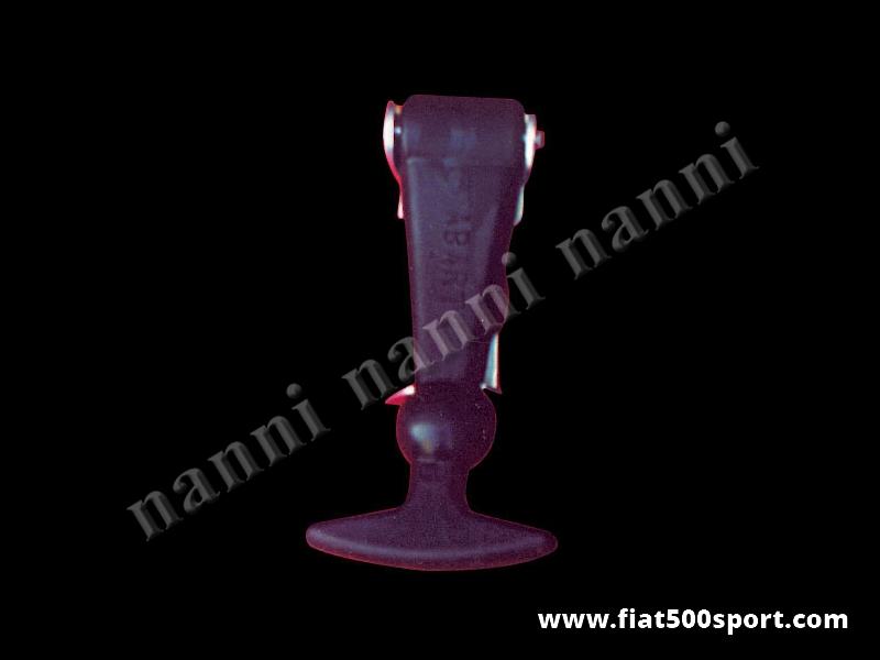 Art. 0008 - Tirante fermacofano Fiat Abarth 500 grande in gomma. - Tirante fermacofano Fiat Abarth 500 in gomma grande con scritta Abarth. Altezza 12 cm.