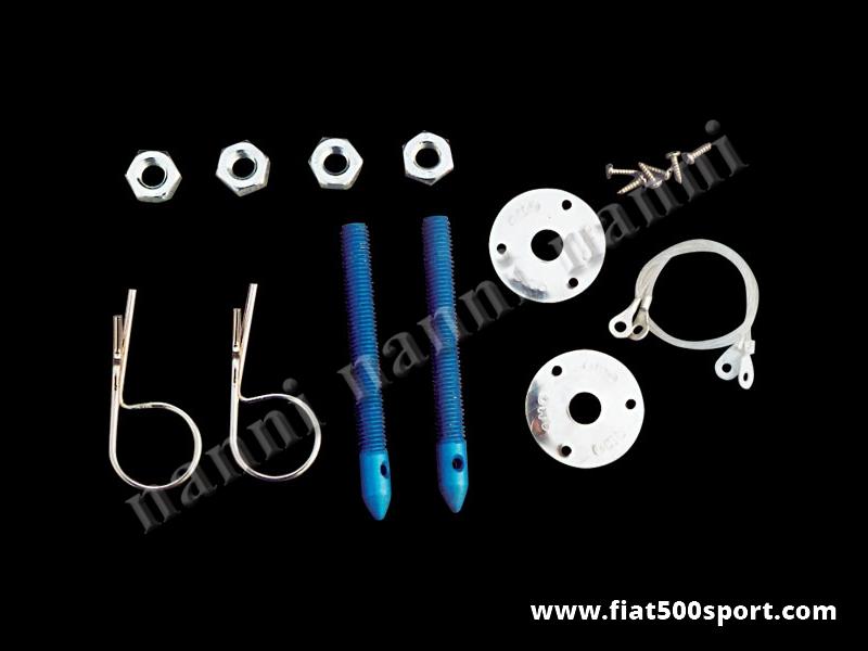 Art. 0009 - Fermacofano Fiat 500 da corsa In alluminio(kit completo ). - Fermacofano Fiat 500 da corsa in alluminio anodizzato. (Kit completo)
