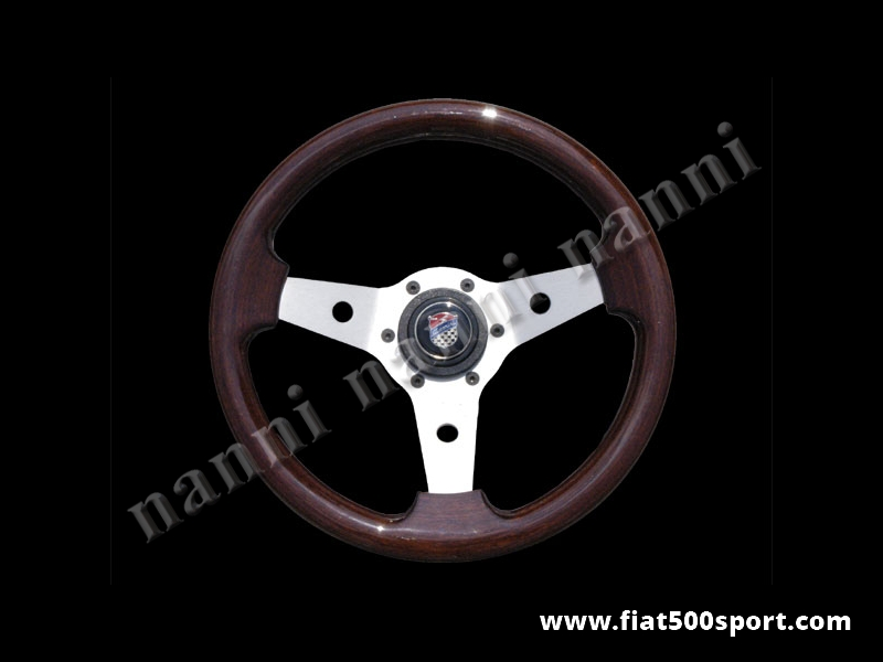 Art. 0015 - Fiat 500 Giannini mahogany wood steering wheel with hub (satined spokes) - Fiat 500 Giannini mahogany wood steering wheel with hub (satined spokes)  Outer diameter 315 mm.