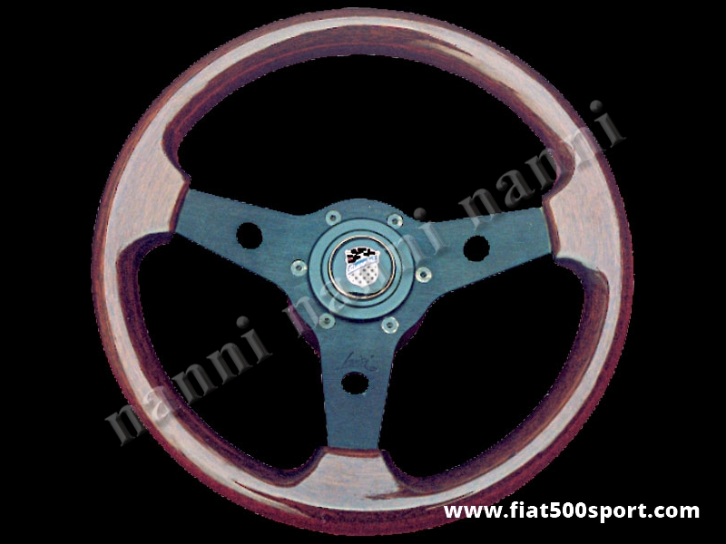 Art. 0017 - Fiat 500 Giannini mahogany wood steering wheel with hub (black spokes). - Fiat 500 Giannini mahogany wood steering wheel with hub (black spokes). Outer diameter 315 mm. (SPECIAL OFFER)