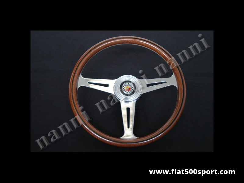 Art. 0018 - Fiat Abarth 695 SS original steering wheel in mahogany wood whit hub. (diam. 360 mm.) - Fiat Abarth 695 SS original steering wheel in mahogany wood with hub. (Outer diameter 360 mm.)