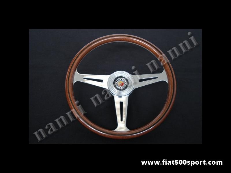 Art. 0018 - Fiat Abarth 695 SS original steering wheel in mahogany wood whit hub. (diam. 360 mm.) - Fiat Abarth 695 SS original steering wheel in mahogany wood with hub. (Outer diameter 360 mm.)