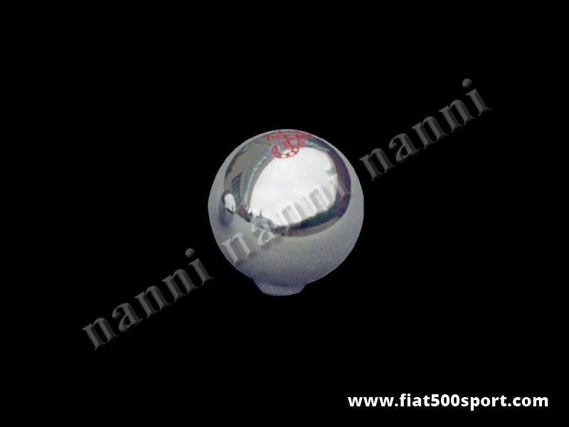 Art. 0025 - Pomello Fiat 500  Abarth leva cambio in alluminio cromato. - Pomello Fiat 500 Abarth leva cambio in alluminio cromato ( lo stemma Abarth è inciso e colorato nell'alluminio).