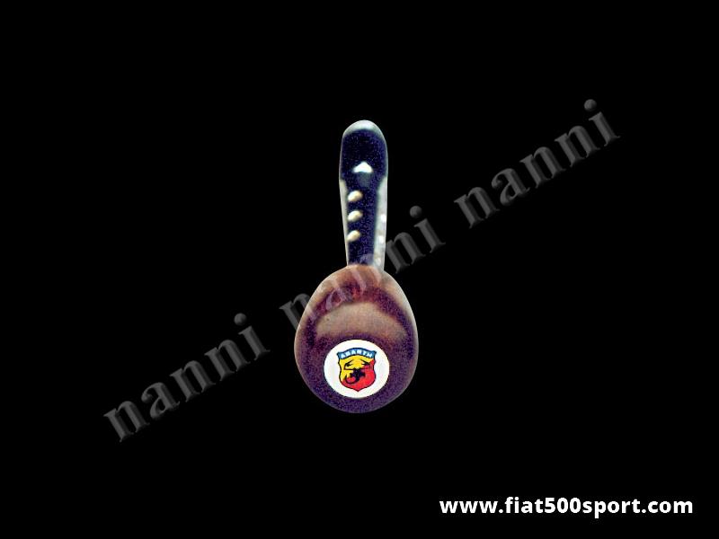 Art. 0039 - Leva cambio Fiat 500 Fiat 126 con pomello Abarth in legno di  Mogano. - Leva cambio Fiat 500 Fiat 126 con pomello Abarth in legno di mogano.