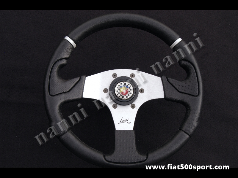 Art. 0051 - Fiat 500 Abarth  black steering wheel with hub. - Fiat 500 Abarth black steering wheel with hub. Outer diameter 320 mm.