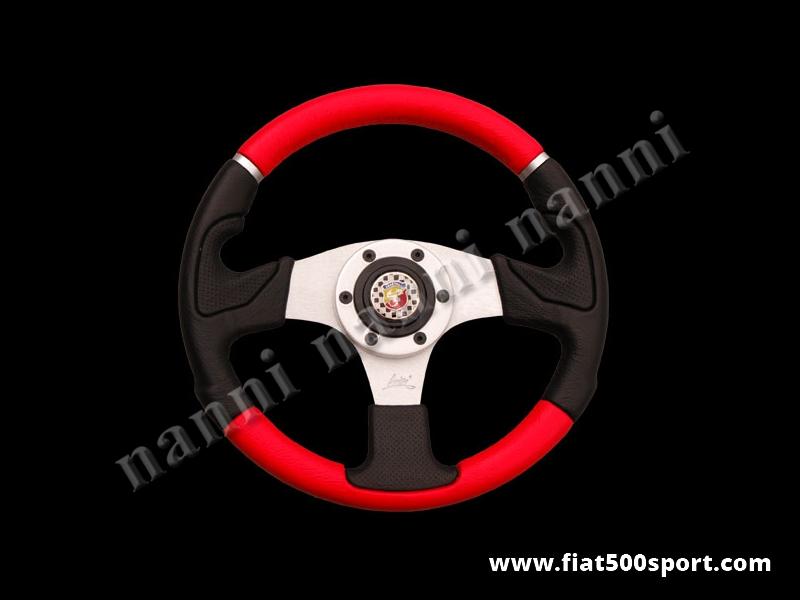 Art. 0053 - Volante Fiat 500 Fiat 126 Abarth in pelle rossa, completo di mozzo e pulsante clacson Abarth. - Volante Fiat 500 Fiat 126 Abarth in pelle rossa.(specificare nelle note se lo si desidera con mozzo per 126). Il diametro esterno è di 320 mm.