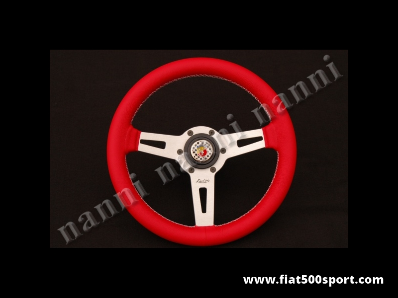 Art. 0054A - Fiat 500 Abarth  red leather steering wheel with hub. - Fiat 500 Abarth red leather steering wheel with hub. Diam. mm. 315.
