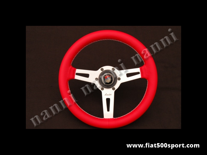Art. 0054B - Fiat 500 Giannini red leather steering wheel with hub. - Fiat 500 Giannini red leather steering wheel with hub. Diam. mm. 315.