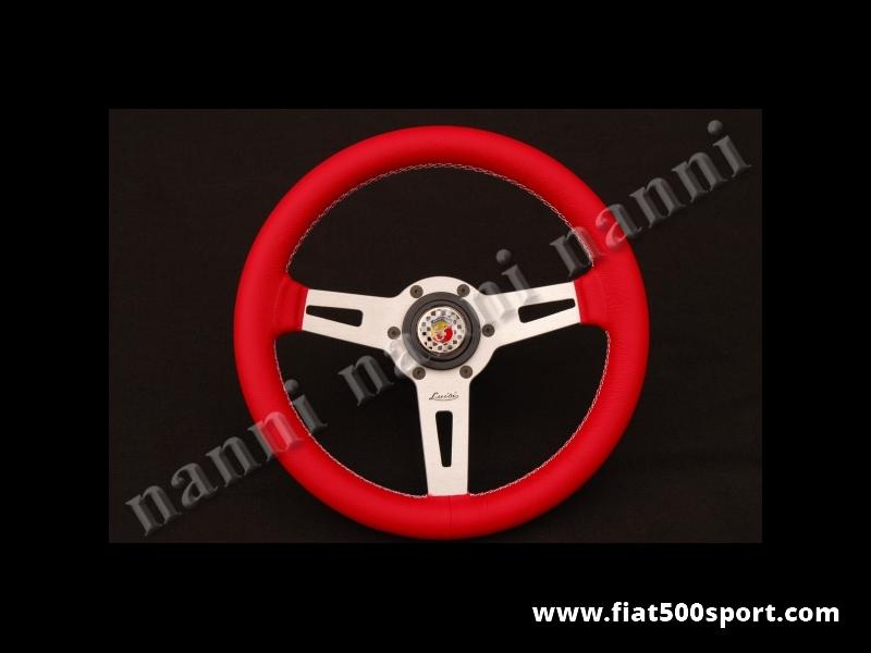 Art. 0054C - Volante Fiat 126 Abarth in pelle rossa (primo fiore), completo di mozzo e pulsante clacson Abarth. - Volante Fiat 126 Abarth in pelle rossa (primo fiore), completo di mozzo e pulsante clacson Abarth. Diametro esterno mm. 315
