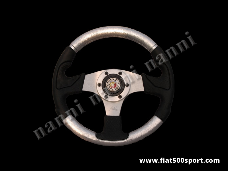 Art. 0055 - Fiat 500 Abarth silver steering wheel with hub. - Fiat 500 Abarth silver steering wheel with hub. Outer diameter 320 mm.