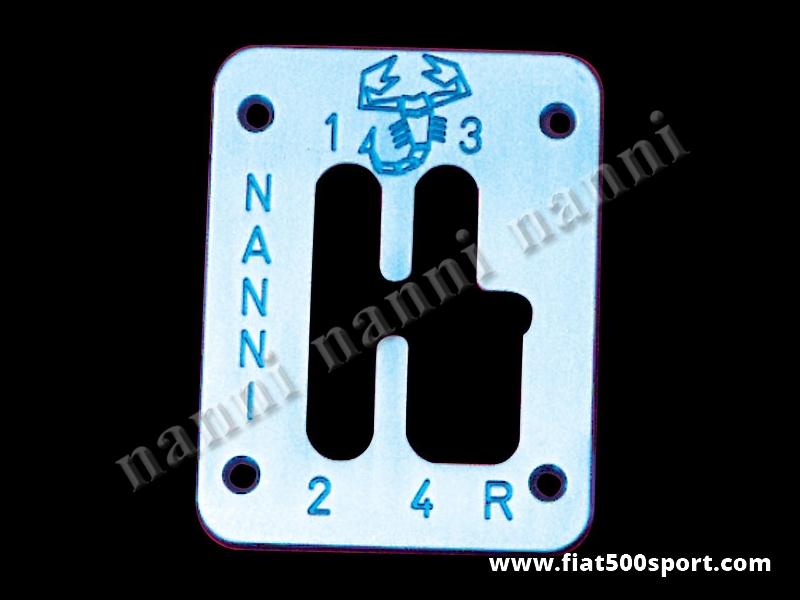Art. 0070 - Fiat 500 Fiat 126 NANNI competition style 4 speed chromed bronze plate for ballgrip. - Fiat 500 Fiat 126 NANNI competition style 4 speed chromed bronze plate for ballgrip.