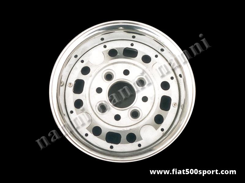 Art. 0079 - Cerchio ruota Fiat 500  Fiat 126, NANNI  Ø 10 pollici componibile in lega con attacco Fiat (interasse bulloni ruota 98 mm.) larghezze: 4-5-6-7-8 pollici - Cerchio ruota componibile Fiat 500 Fiat 126 Ø 10 pollici Nanni in lega con attacco Fiat (interasse bulloni ruota 98 mm.) di nostra produzione,larghezze: 4-5-6-7-8 pollici. Completa di bulloni.
