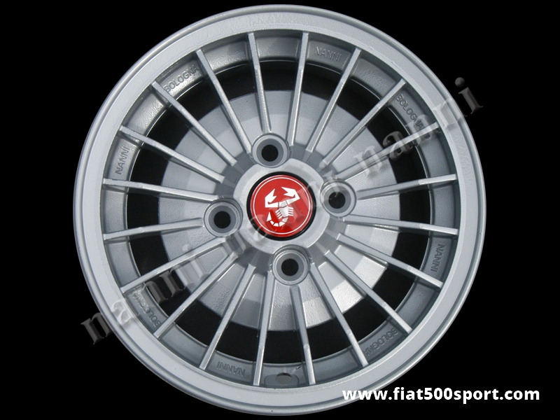 "Art. 0083 - Fiat 126 Abarth 12"" alloy wheel with fixing Fiat, 4""1/2 in width. - Fiat 126 Abarth 12"" alloy wheel with fixing Fiat, 4""1/2 in width.  ET 30."