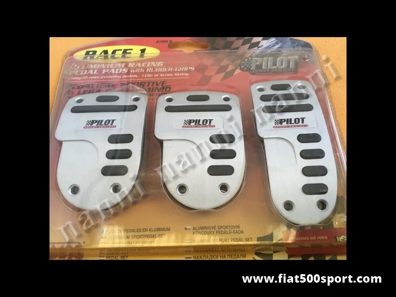 Art. 0086C - Fiat 500 Fiat 126 aluminium anti-skid silver cover pedals Race Pilot. - Fiat 500 Fiat 126 aluminium anti-skid silver cover pedals Race Pilot.