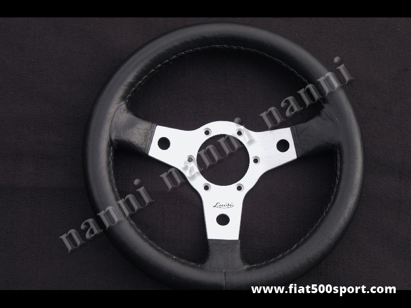 Art. 0100 - Steering wheel leather, satined spokes. Diam. 315 mm. - Leather steering wheel, satined spokes. Diam. 315 mm.