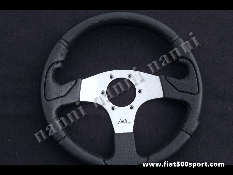 Art. 0101 - Volante nero razze satinate, ergonomico. Diametro 320 mm. - Volante colore nero con razze satinate ergonomico. Diametro 320 mm.