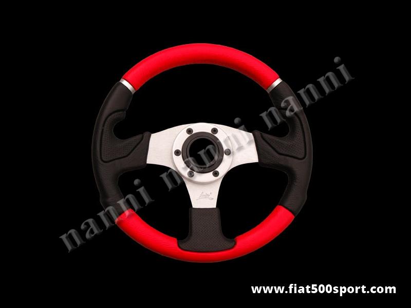 Art. 0103 - Volante pelle rossa razze satinate, ergonomico. Diametro 320 mm. - Volante in pelle rossa, ergonomico, con le razze satinate. Diametro 320 mm.