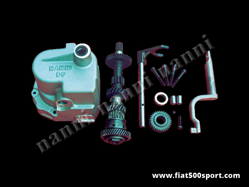 Art. 0112 - Fiat 126 NANNI kit 5 speed with 3 and 4 short speed and overdrive gearbox with gaskets. - Fiat 126 NANNI kit 5 speed with 3 and 4 short speed and overdrive gearbox with gaskets.