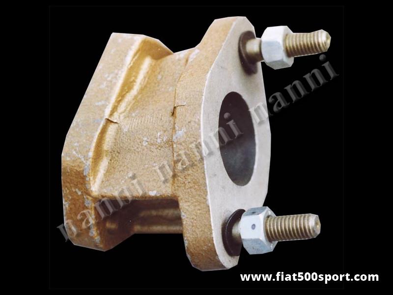 Art. 0129 - Collettore Fiat 500 Giardiniera d'aspirazione NANNI per carburatore Dell'Orto FZD. - Collettore d'aspirazione Fiat 500 Giardiniera NANNI per carburatore inclinato Dell'Orto FZD 32/28 oppure FZD 30/24.