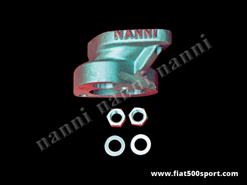 Art. 0131 - Collettore Fiat 500 Fiat 126 NANNI d'aspirazione  decentrato per carburatore 32-34 mm verticale Solex (32/34 PBIC) con dadi speciali - Collettore d'aspirazione Fiat 500 Fiat 126 decentrato NANNI per carburatore 32-34 mm verticale Solex (32/34 PBIC) con dadi speciali su Fiat 500/126.