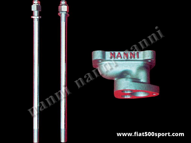 Art. 0133 - Fiat 500 inlet manifold NANNI for mounting vertical twin-choke carburettor 30 mm ( Fiat Panda 30, 850 special, coupe',spider). - Fiat 500 inlet manifold NANNI for mounting vertical twin-choke carburettor 30 mm. (Fiat Panda 30, 850 special, coupe', spider).