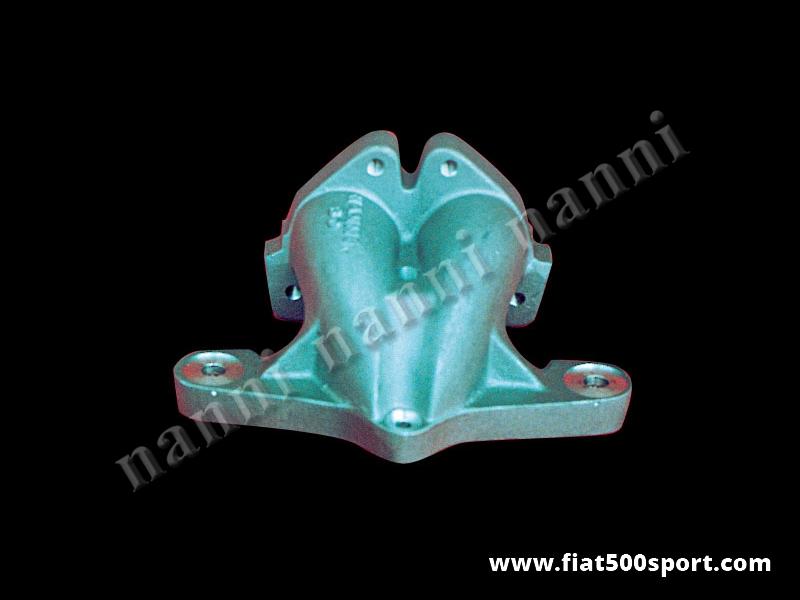 Art. 0135 - Fiat 500 Fiat 126 Inlet manifold NANNI for horizontal twin-choke carburettor Ø 32-35 mm. - Fiat 500 Fiat 126 inlet manifold NANNI for horizontal twin-choke carburettor Ø 32-35 mm. (Lancia Fulvia, Fiat 124, 1100R).