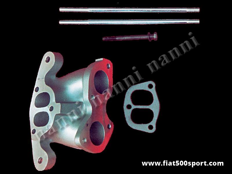 Art. 0137 - Inlet manifold NANNI for twin-choke carburettor diam. 40-45-48 mm over Panda head. - NANNI inlet manifold for twin-choke carburettor Ø 40-45-48 mm. (Alfa Romeo Giulia, 1750, 2000) over Panda head.