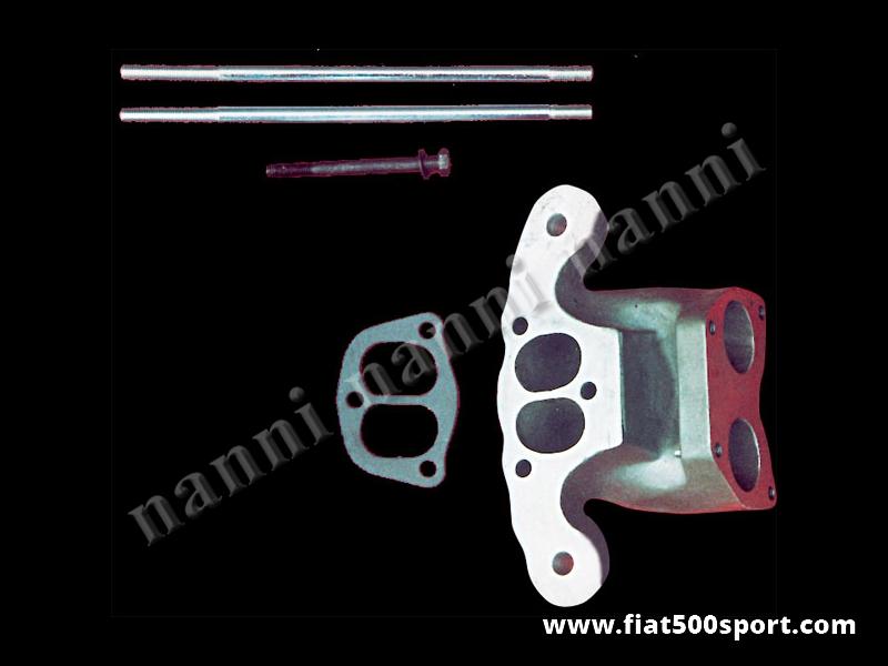 Art. 0138 - Inlet manifold NANNI for twin-choke carburettor Ø 32-35 mm over Panda head. - NANNI inlet manifold for twin-choke carburettor (Lancia Fulvia, Fiat 124, 1100 R) Ø 32-35 mm over Panda head.