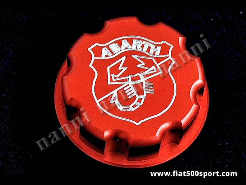 Art. 0141h - Cap fuel tank Fiat 500 Abarth. - Cap fuel tank Fiat 500 Abarth. Made in red satined aluminium. Engraved coat of arms Abarth.