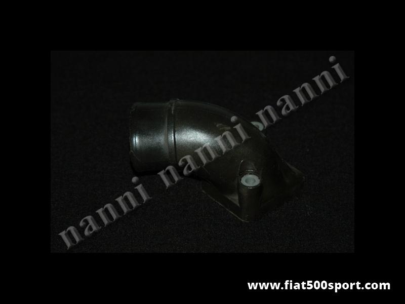 Art. 0159A - Manicotto originale in plastica nera  posizionato sopra il carburatore Fiat 126. - Manicotto originale Fiat 126 posizionato sopra il carburatore Weber 28 IMB.