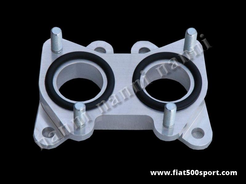 Art. 0166 - Fiat 500 Fiat 126  inlet manifold light alloy spacer for twin-choke horizontal carburettor diam. 32 mm. - Fiat 500 Fiat 126 inlet  manifold light alloy spacer for twin-choke horizontal carburettor diam. 32 mm. (For carburettor Lancia Fulvia, Fiat 124, Fiat 1100 R).
