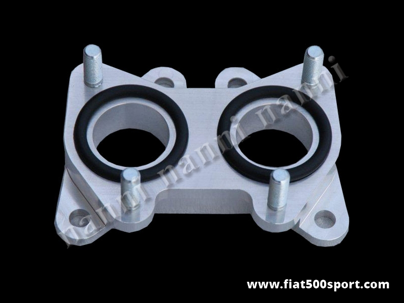 Art. 0167 - Fiat 500 Fiat 126  inlet manifold light alloy spacer for twin-choke horizontal carburettor diam. 35 mm. - Fiat 500 Fiat 126 inlet manifold light alloy spacer for twin-choke hozizontal carburettor Diam. 35 mm. Lancia Fulvia.