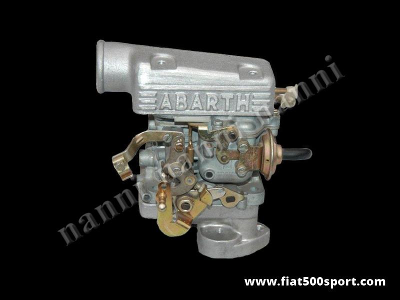 Art. 0172R - Carburatore Fiat 500 R Fiat 126 doppio corpo verticale  diametro 32 mm. - Carburatore Fiat 500 R Fiat 126 doppio corpo verticale diametro 32 mm. completo di collettore con prigionieri dedicati e scatola presa aria Abarth. Include spessore abbassa motore.