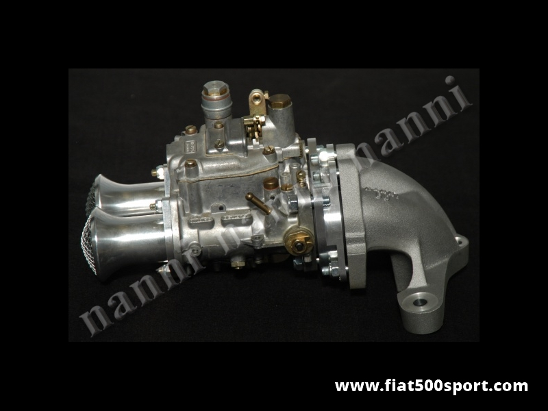 Art. 0173 - Fiat 500 Fiat 126 kit twin-choke Ø 32 mm horizontal carburettor with manifold and alloy admission pipe. - Fiat 500 Fiat 126 kit twin-choke Ø 32 mm horizontal carburettor with manifold and alloy admission pipe.